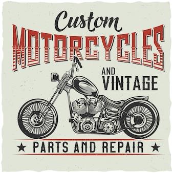 Motorfiets thema t-shirt ontwerp met illustratie van aangepaste fiets