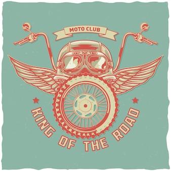 Motorfiets thema t-shirt ontwerp met illustratie van helm, bril, wiel en vleugels