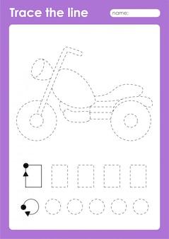 Motorfiets - tracing lijnen voorschoolse werkblad voor kinderen voor het oefenen van fijne motoriek