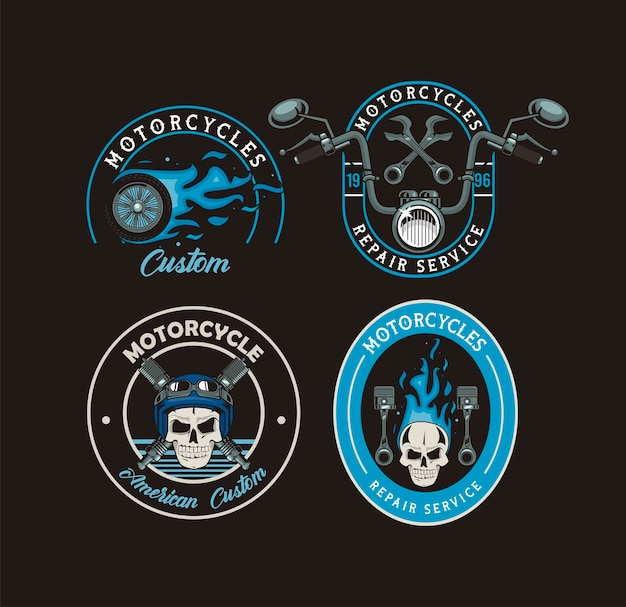 Motorfiets vier badges