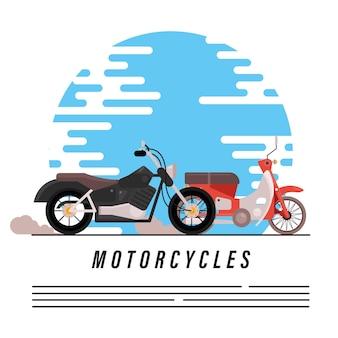 Motorfietsen, oude helikopters en voertuigen in straatstijl