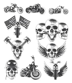 Motorfietsen schedels vleugels vlaggen en zuigers
