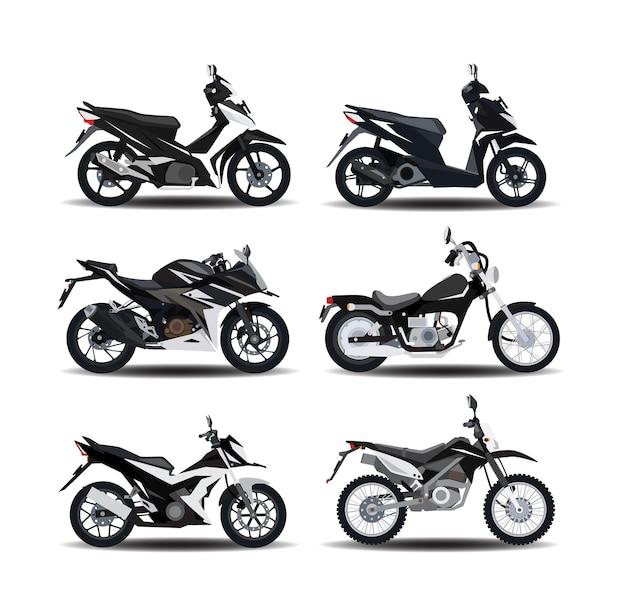 Motorfietsillustratie in semirealistische stijl met zes verschillende soorten motorfietsen