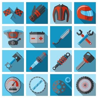 Motorfietsonderdelen en -elementen ingesteld op vlakke stijl