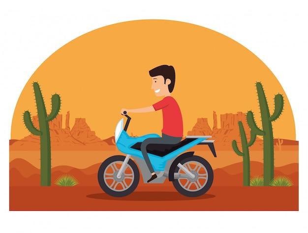 Motorfietsvoertuig in de woestijn