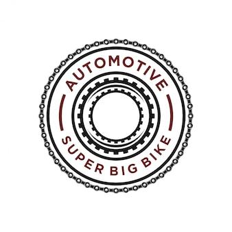 Motorkettinglogo voor de workshop Premium Vector
