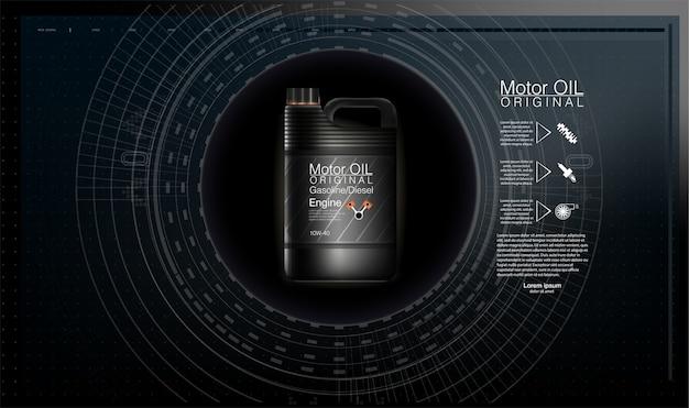 Motorolie jerrycans en auto-olie geïsoleerd op een witte achtergrond.