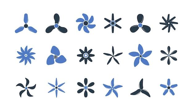 Motorpropellers. schroef energie-industrie beweging luchtvaart motoren symbolen cirkel vormen propeller set.