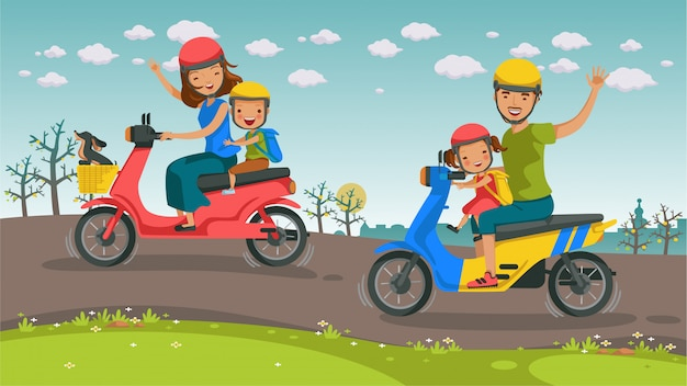 Motorreizen aziaten familie.
