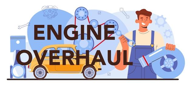 Motorrevisie typografische kop. auto reparatieservice. auto motor