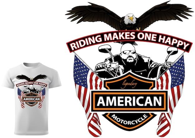 Motorrijder t-shirtontwerp met bald eagle en amerikaanse vlaggen