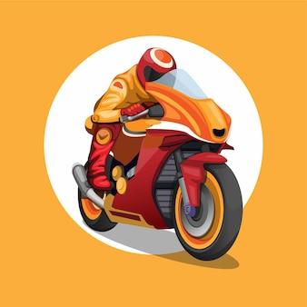 Motorsport kampioenschap rijder in oranje en rood kleurenconcept