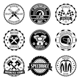 Motorsport toernooi motor service emblemen zwarte set geïsoleerde vector illustratie