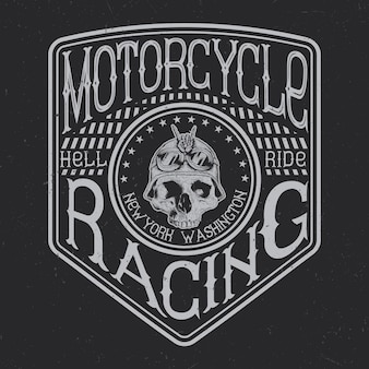 Motortypografie, t-shirtafbeeldingen, embleem en labelontwerp