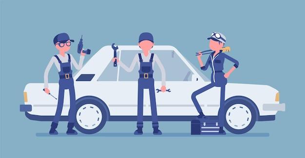 Motorvoertuigonderhoud of auto-afstemstation