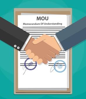 Mou-memorandum van overeenstemming handdruk