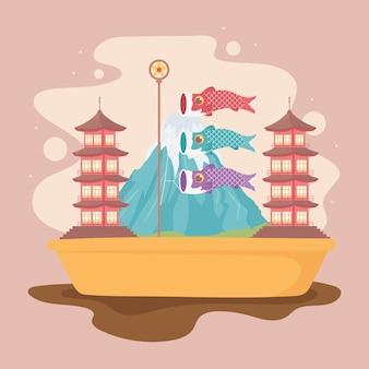 Mount fuji en vlaggen vissen