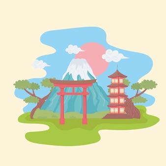 Mount fuji torii-poort en pagode