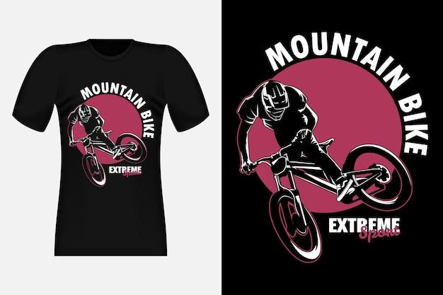 Mountain bike extreme sport silhouet vintage t-shirt design