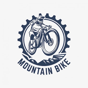 Mountain bike vintage logo sjabloon versnelling en fietser illustratie