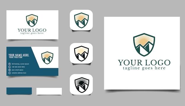 Mountain bussines logo en bussines kaart templete