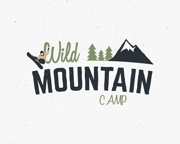 Mountain camp vintage badge logo kleurrijk