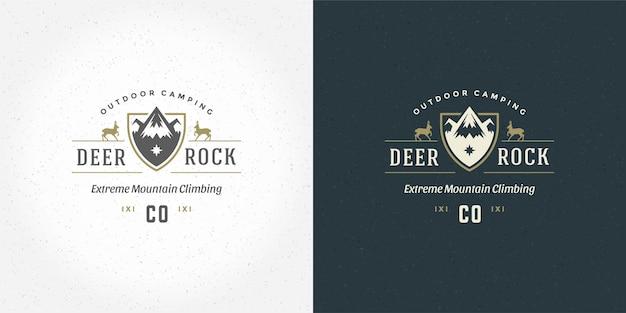 Mountain camping logo embleem buiten
