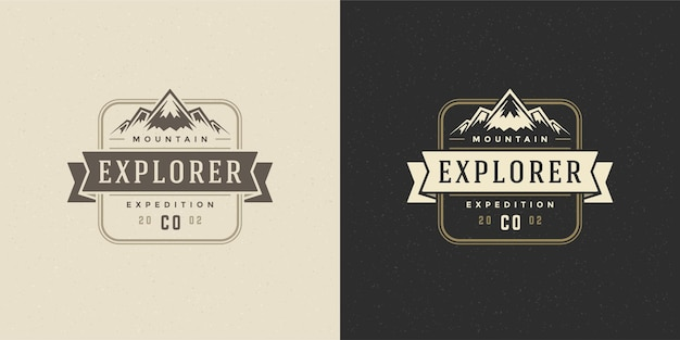 Mountain camping logo embleem illustratie