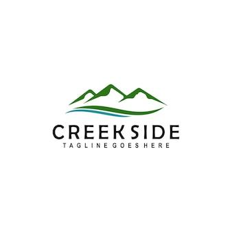 Mountain creek landschap rivier logo ontwerp