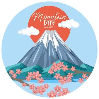 Mountain day banner met mount fuji geïsoleerd