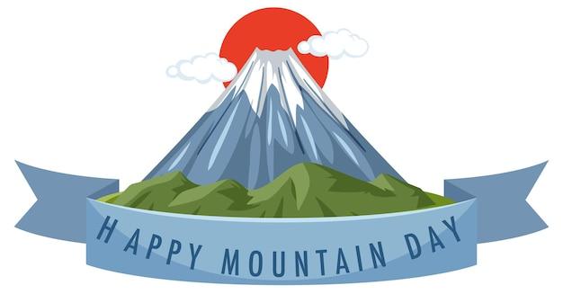 Mountain day in japan banner met mount fuji geïsoleerd