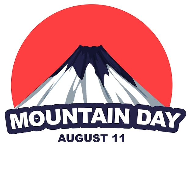 Mountain day op 11 augustus banner met mount fuji