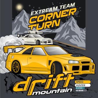 Mountain drift cars, vector auto illustraties
