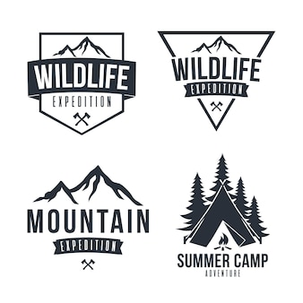 Mountain explorer adventure logo badge vector icon design set collectie