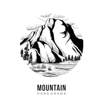 Mountain hand getekend
