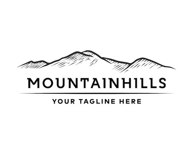 Mountain hills logo vintage mountain drawing voor hipster reizen avontuur buiten retro logo ontwerp