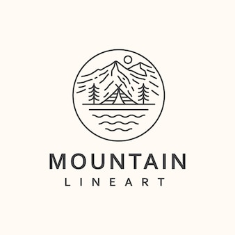 Mountain lineart badge sjabloon