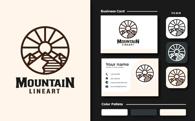 Mountain logo sjabloon branding set