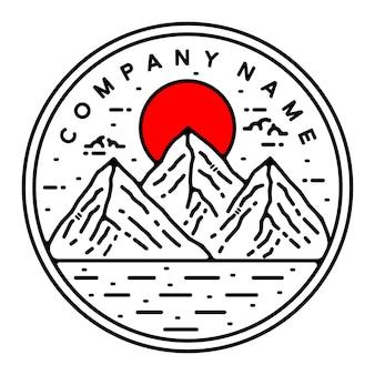 Mountain monoline vintage outdoor badge-ontwerp