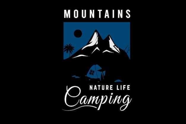 Mountain nature life camping kleur blauw en wit