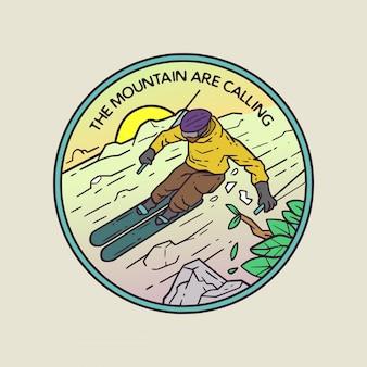 Mountain ski monoline illustratie