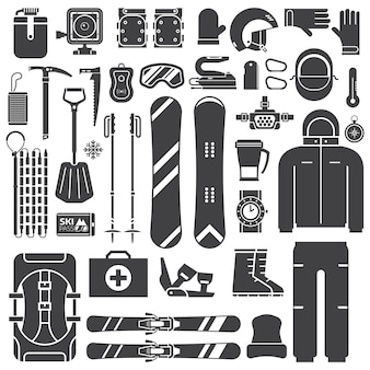 Mountain ski-uitrusting en accessoires schetsen iconen collectie.