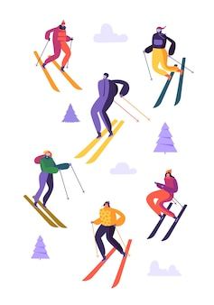 Mountain skiing characters in goggles and skipak