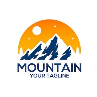 Mountain sunrise logo sjablonen