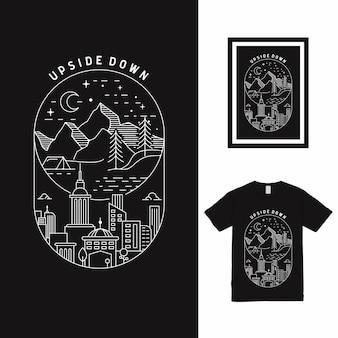 Mountain town line art t-shirtontwerp