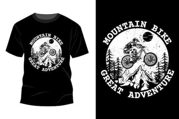 Mountainbike geweldig avontuur t-shirt mockup ontwerp silhouet