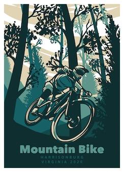 Mountainbike in het bos vintage poster sjabloon