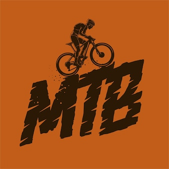 Mountainbike silhouet illustratie Premium Vector