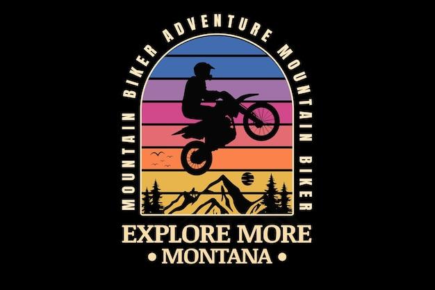 Mountainbiker-avontuur verken meer montana kleur blauw roze en geel