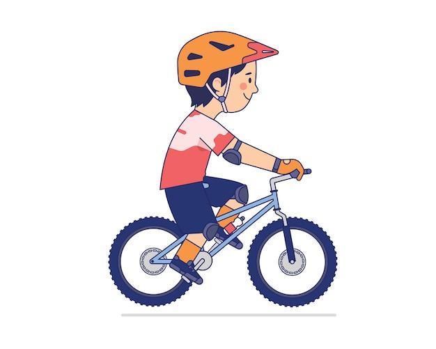 Mountainbiker geniet van zijn rit